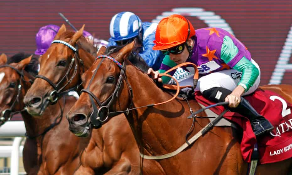 Lady Bowthorpe gets up late to win the Nassau Stakes at Goodwood.