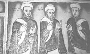 Mural, Ba'ata church, Gondar. Aleqa Tsega is on the left.
