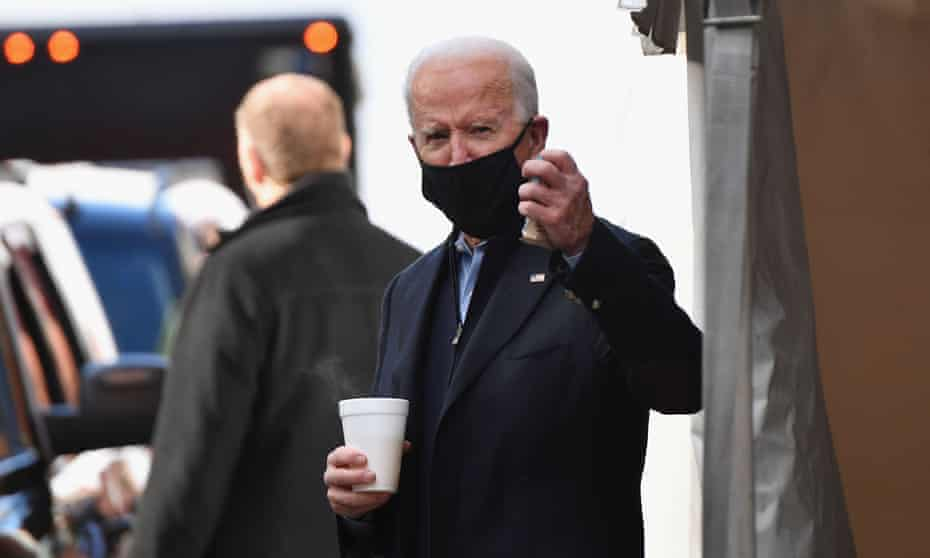 Biden leaves after meeting with transition advisers at the Queen theater in Wilmington, Delaware on Monday.