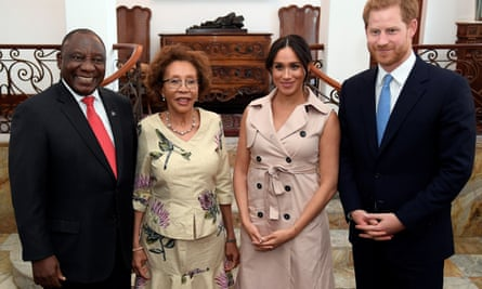 Duke and Duchess of Sussex meet with South African president Cyril Ramaphosa and his wife Tshepo Motsepe during their tour of southern Africa