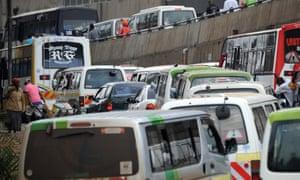 Heavy traffic brings vehicles to a halt in the Kenyan capital Nairobi