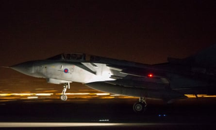 An RAF Tornado GR4 aircraft lands in Cyprus on 14 April after being part of a mission to conduct strikes in Syria