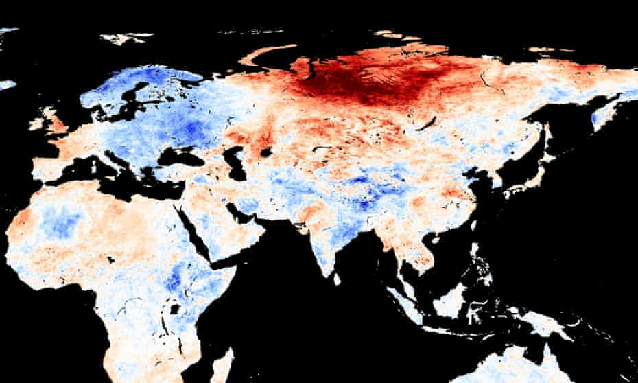 A map showing places warmer (red) or cooler (blue) in May than the long-term average