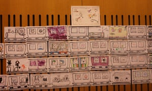 Tiz and Ott's Big Draw Train with Bridget Marzo at Guardian Cartoon and art family day, 10 October 2015.