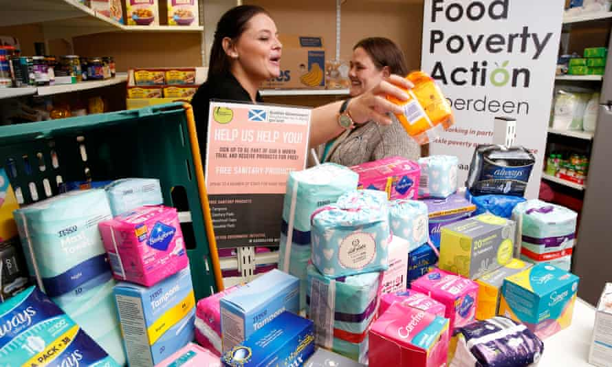 Free sanitary products at a food bank in Aberdeen. 'It is silence that is preventing real progress from being made.'