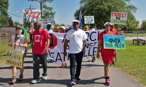 First day of 5 day CADA march in Cancer Alley leaving the grounds of the 5th Ward Elementary Shcool.