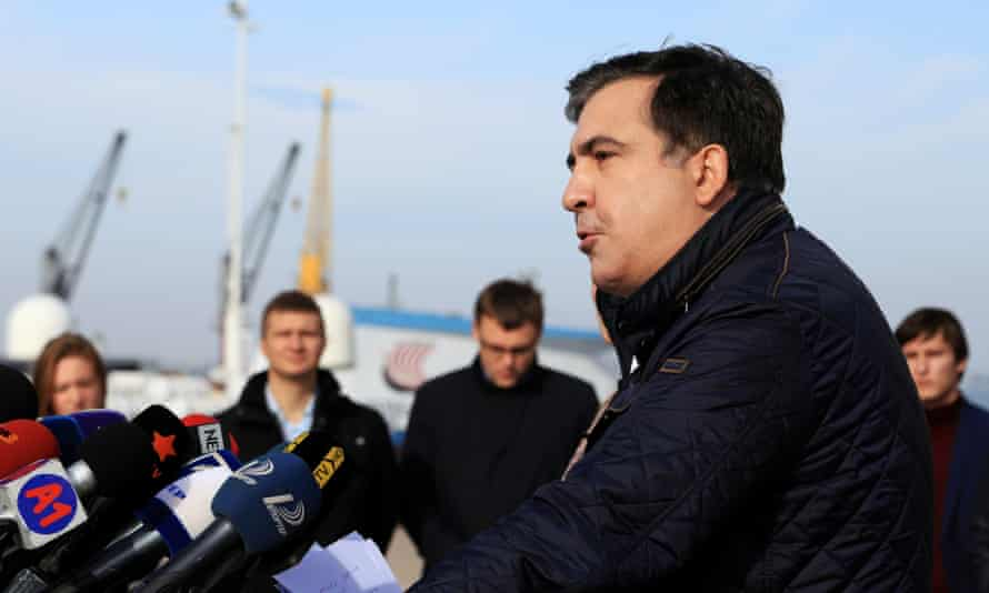 Mikheil Saakashvili resigns during press conference in Odessa.