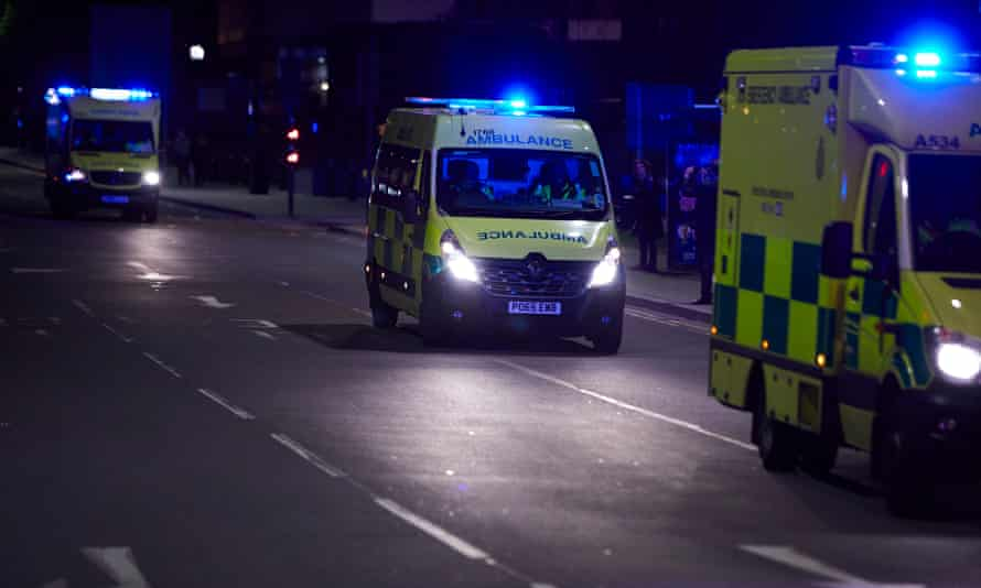 Ambulances arriving at Manchester Victoria railway station and arena following the bombing on 22 May 2017