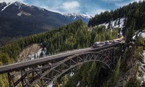 The Rocky Mountaineer crosses Stoney Creek Bridge in British Columbia.