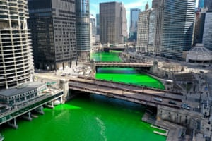 The Chicago river is dyed green in Illinois, US