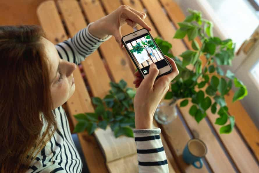 Stock image of a woman taking a photograph of a book beside plants and a cup of coffee.