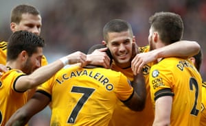 Wolves' Ivan Cavaleiro (left) celebrates his side's only goal of the game