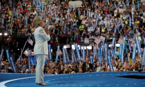Hillary Clinton accepting the nomination at the Democratic national convention in Philadelphia.