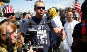A supporter of the far-right group Patriot Prayer argues with counter-demonstrators on Saturday.
