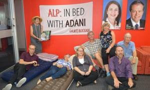 Galilee Blockade protesters opposed to the Adani coalmine occupy Queensland Labor's headquarters
