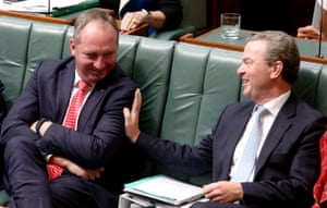 The deputy prime minister, Barnaby Joyce, and the leader of the house, Christopher Pyne, during question time