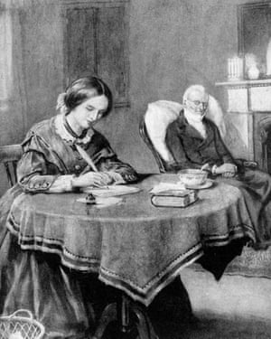 Charlotte BronteIllustration of Victorian novelist & painter Charlotte Bronte (1816-1855) at home, at work on her first novel, The Professor, w. ailing father in the background. (Photo by Time Life Pictures/Mansell/Time Life Pictures/Getty Images)