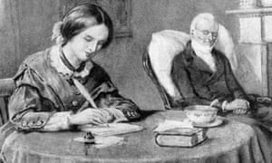 Illustration of Victorian novelist and painter Charlotte Bronte (1816-1855) with her ailing father in the background.