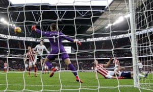 Stoke City's Ryan Shawcross gives Tottenham a morale-boosting lead with an own goal.