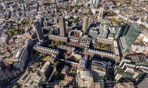 Aerial photograph of the Barbican Estate and surroundings