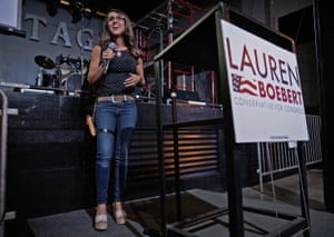 Lauren Boebert speaks during a watch party for her primary result this week