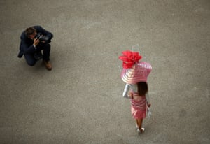 An attendee is photographed on the second day of Royal Ascot in England