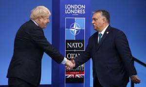 Boris Johnson and Viktor Orbán at the Nato 70th anniversary summit.