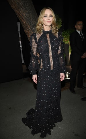 Vanessa Paradis in sheer and panelled Chanel