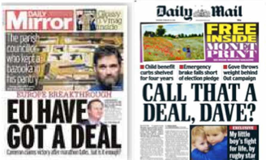 The Daily Mirror and Daily Mail front pages on Saturday.