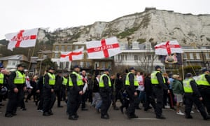 A far-right protest through Dover in April.
