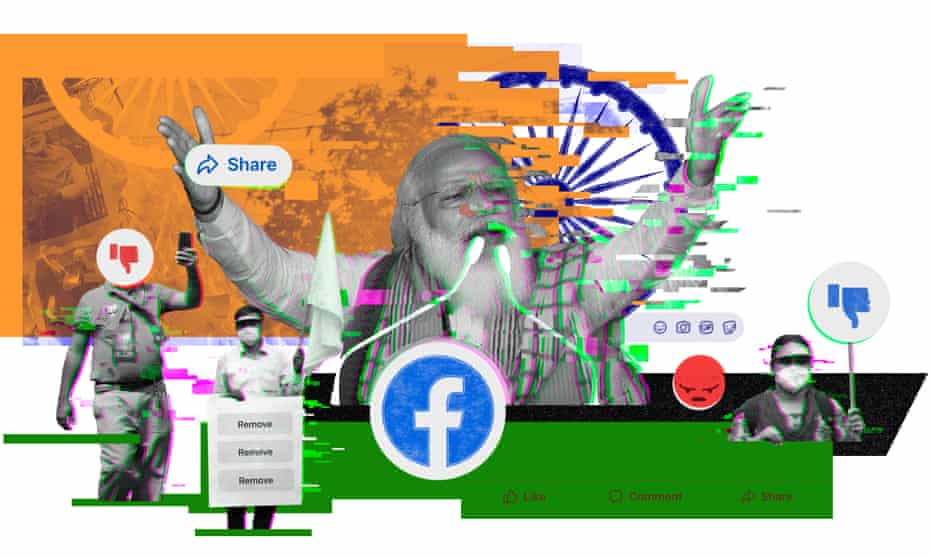 For months, Facebook let fake accounts inflate the popularity of an MP from the BJP, headed by Narendra Modi, center.