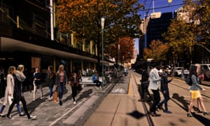 An artist's impression of proposed City of Melbourne changes to Elizabeth Street, showing that the southbound traffic lane, heading toward Flinders Street, has been removed to allow for a bike lane and wider footpaths.