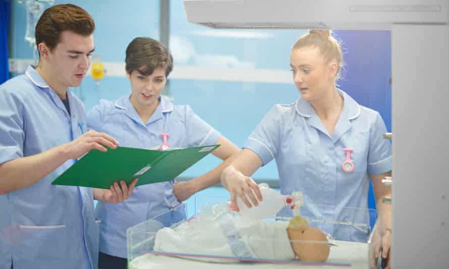 Midwifery students undergoing training