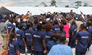 Adama Sankoh, the last Ebola patient in Sierra Leone, is discharged from hospital outside Makeni on 24 August.