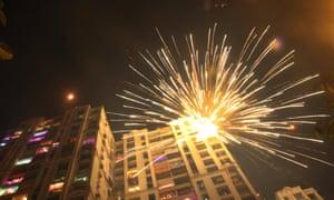 Firecrackers burst over Mumbai on Diwali night, 11 November.