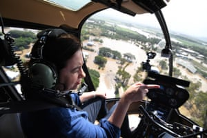 Queensland premier Annastacia Palaszczuk surveys floods in Ingham.