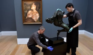 Rodin's Iris, Messenger of the Gods, and Lucian Freud's Pregnant Girl going on display at Sotheby's in London.