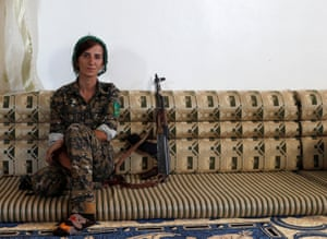 Raqqa, Syria. Sheen Ibrahim, a Kurdish fighter from the People's Protection Units, who leads a 15-woman unit fighting against Islamic State
