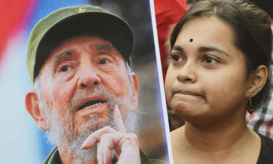 Indian members of leftist organisations at a remembrance rally for Fidel Castro in Kolkata, India, on Saturday.