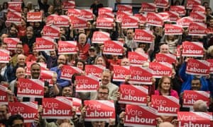 Labour party supporters at an election rally in Swindon, Wiltshire, on 2 Nov 2019.