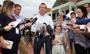 Premier-elect of Western Australia Mark McGowan at a press conference in Rockingham on Sunday.