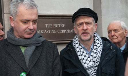 Andrew Murray, Jeremy Corbyn and Tony Benn at a protest outside BBC headquarters in 2009.
