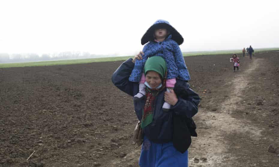 Refugees at the Greek border with Macedonia at Idomeni.