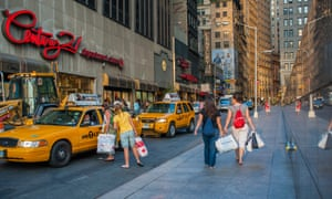 Shoppers in the financial district in New York.