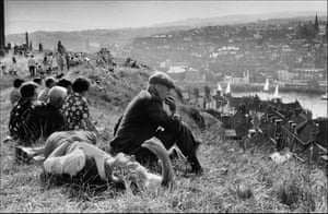 A shot from the series The English documents locals in Whitby, Yorkshire, out for a Sunday stroll in 1974