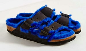 Birkenstock Arizona Blue Shearling Slide Sandal $160, on sale via Urban Outfitters http://www.urbanoutfitters.com/urban/catalog/productdetail.jsp?id=35616309&category=BRANDS