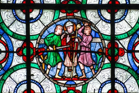Medieval stained glass depicting the murder of Thomas Beckett in Canterbury Cathedral.