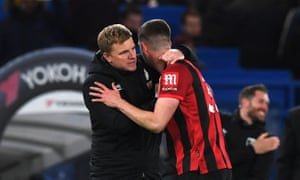 Eddie Howe congratulates Chris Mepham at the end of the match.