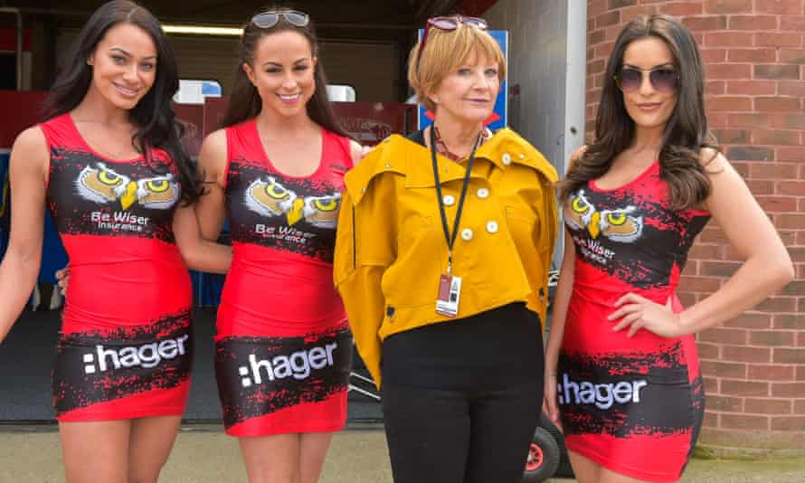 Anne Robinson poses with Brands Hatch grid girls she interviews for The Trouble With Women.