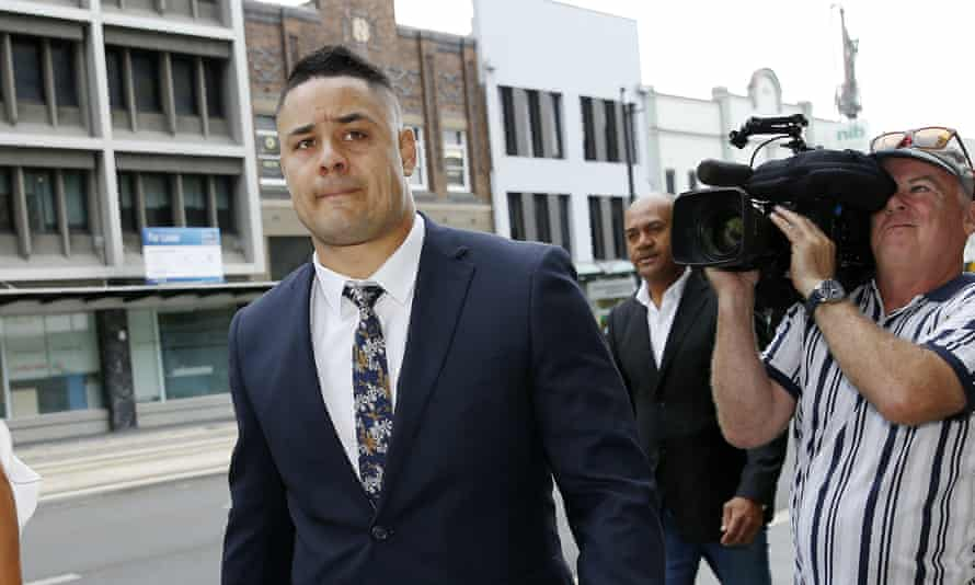 Former NRL player Jarryd Hayne arrives at Newcastle district court.
